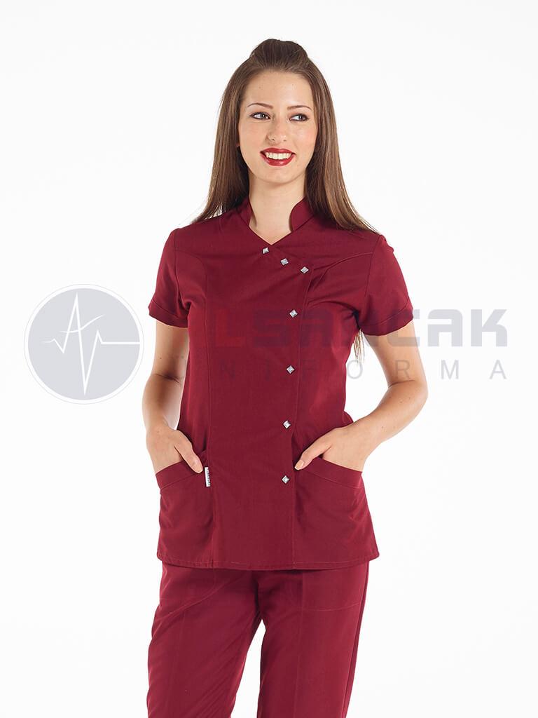 Luxe Model Bordo Hemşire ve Doktor Ceketi