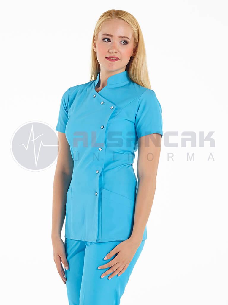 Luxe Model Turkuaz Hemşire ve Doktor Ceketi