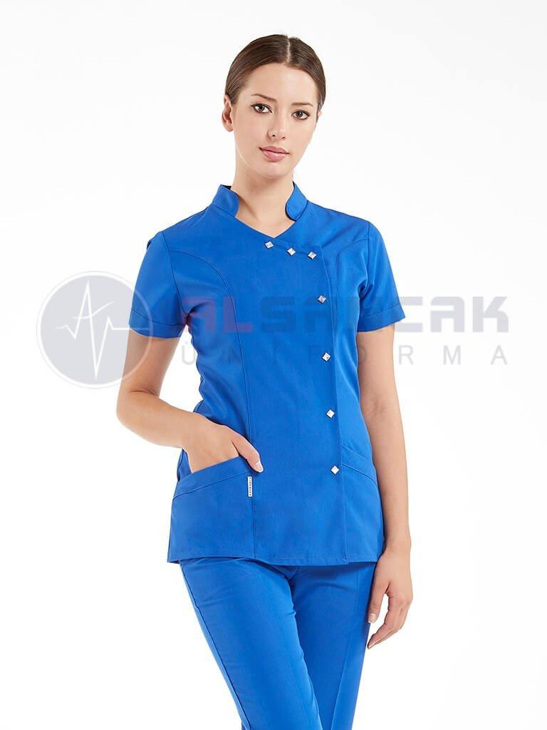 Saks Mavi Yandan Çıtçıtlı Hemşire ve Doktor Ceketi