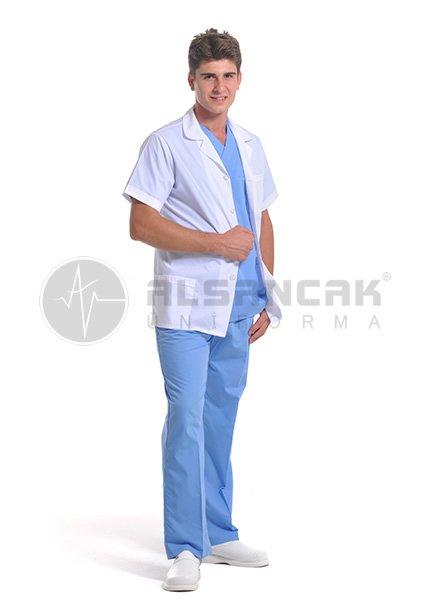 Erkek Spor Yaka Alpaka Klasik Kısa Kollu Beyaz Doktor Ceketi