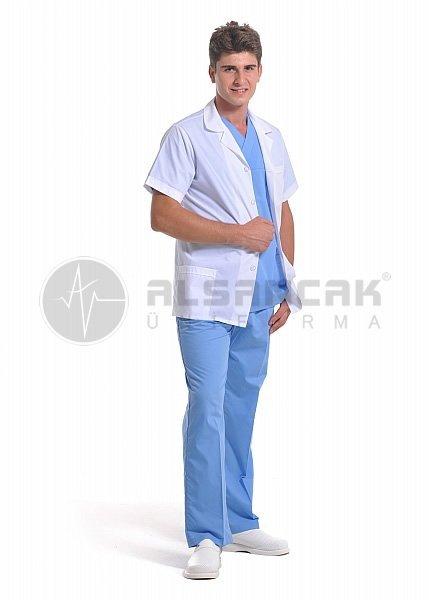 Erkek Spor Yaka Terikoton Kısa Kollu Beyaz Doktor Ceketleri