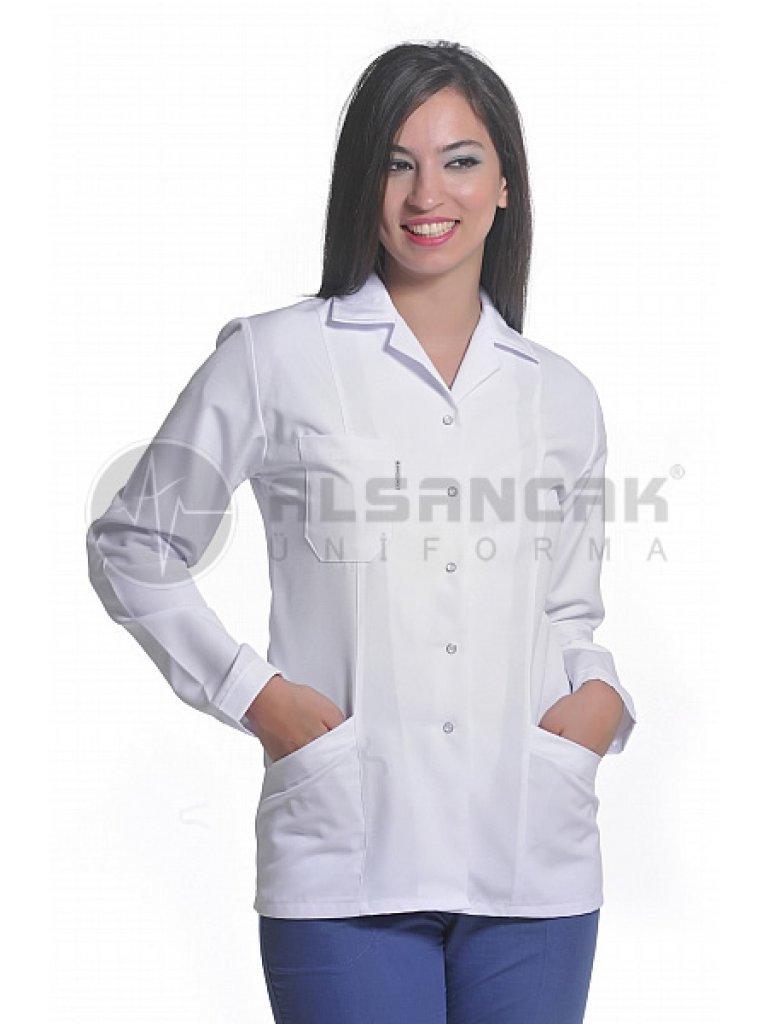 Kadın Spor Yaka Alpaka Kumaş Uzun Kollu Beyaz Doktor Ceketleri (fit kesim)