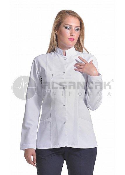 Kadın Hakim Yaka Alpaka Kumaş Uzun Kollu Beyaz Doktor Ceketi (fit kesim)