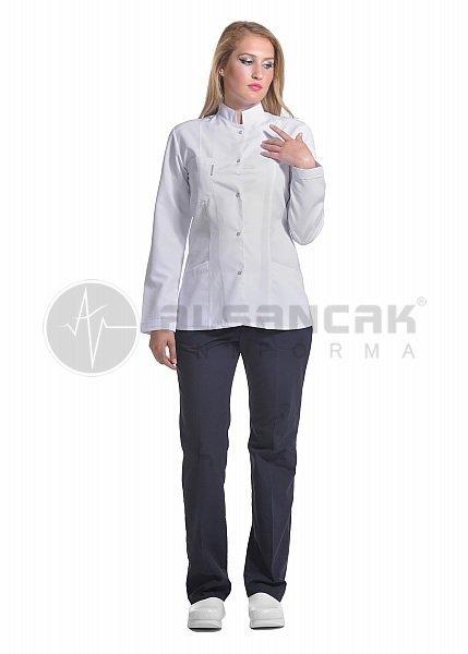 Hakim Yaka Fit Kesim Hemşire Ceketi - Uzun Kol