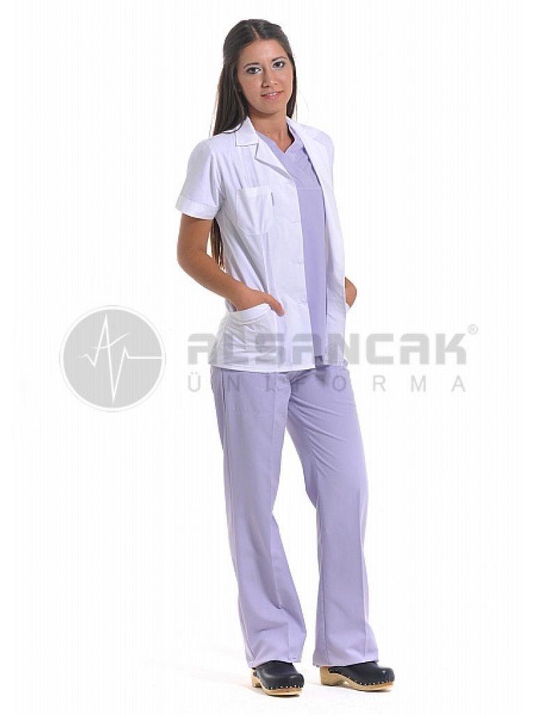 Kadın Spor Yaka Terry Cotton Kumaş Kısa Kollu Beyaz Doktor Ceketi (fit kesim)