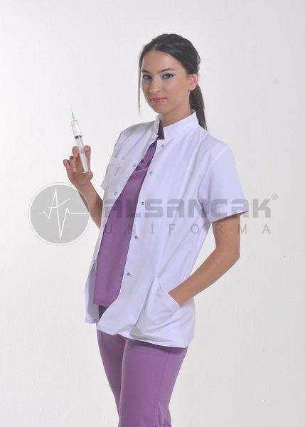 Kadın Hakim Yaka Alpaka Kumaş Kısa Kollu Beyaz Doktor Ceketi (fit kesim)