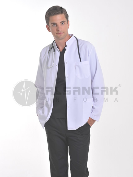 Erkek Hakim Yaka Alpaka Klasik Uzun Kollu Beyaz Doktor Ceketi
