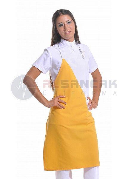 Tam Boy - Alpaka Kumaş - Beyaz / Sarı Mutfak Önlüğü
