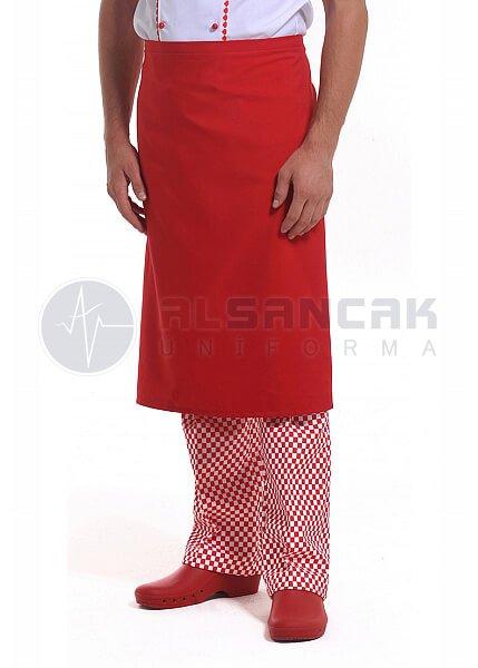 Yarım Boy - Kırmızı Mutfak Önlüğü (dokuma kumaş)