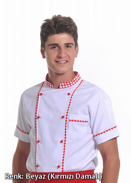 Erkek Efes Modeli - Kırmızı Dama Biyeli - Beyaz - Alpaka Aşçı Elbise Ceketi
