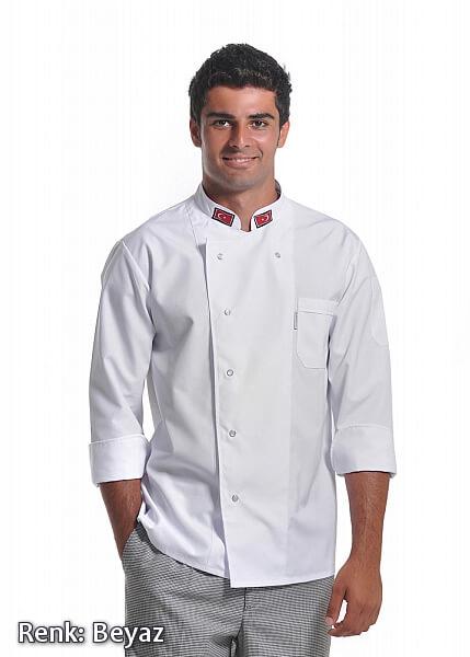 Erkek Efes Modeli - Uzun Kollu - Bayraklı - Beyaz - Alpaka Aşçı Elbise Ceketi