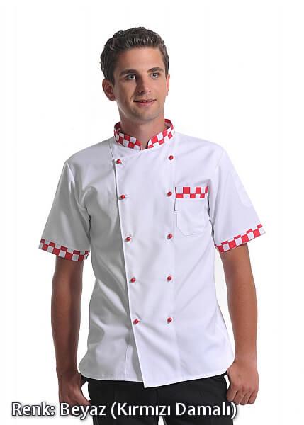 Erkek Efes Modeli - Kırmızı Damalı - Beyaz - Alpaka Aşçı Elbise Ceketi