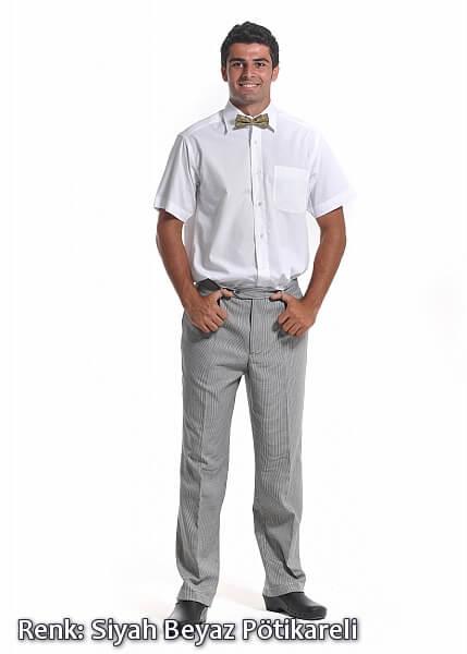 Alpaka Siyah-Beyaz Pötikareli Lastikli Aşçı Pantolonu (Özel Kumaş)