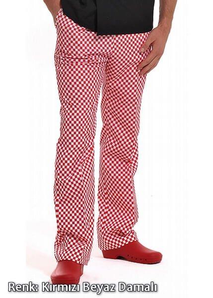Alpaka Kırmızı-Beyaz Damalı Lastikli Aşçı Pantolonu