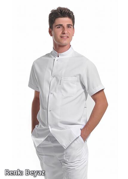Erkek Efes Modeli - Hakim Yaka - Beyaz - Alpaka Aşçı Elbise Ceketi