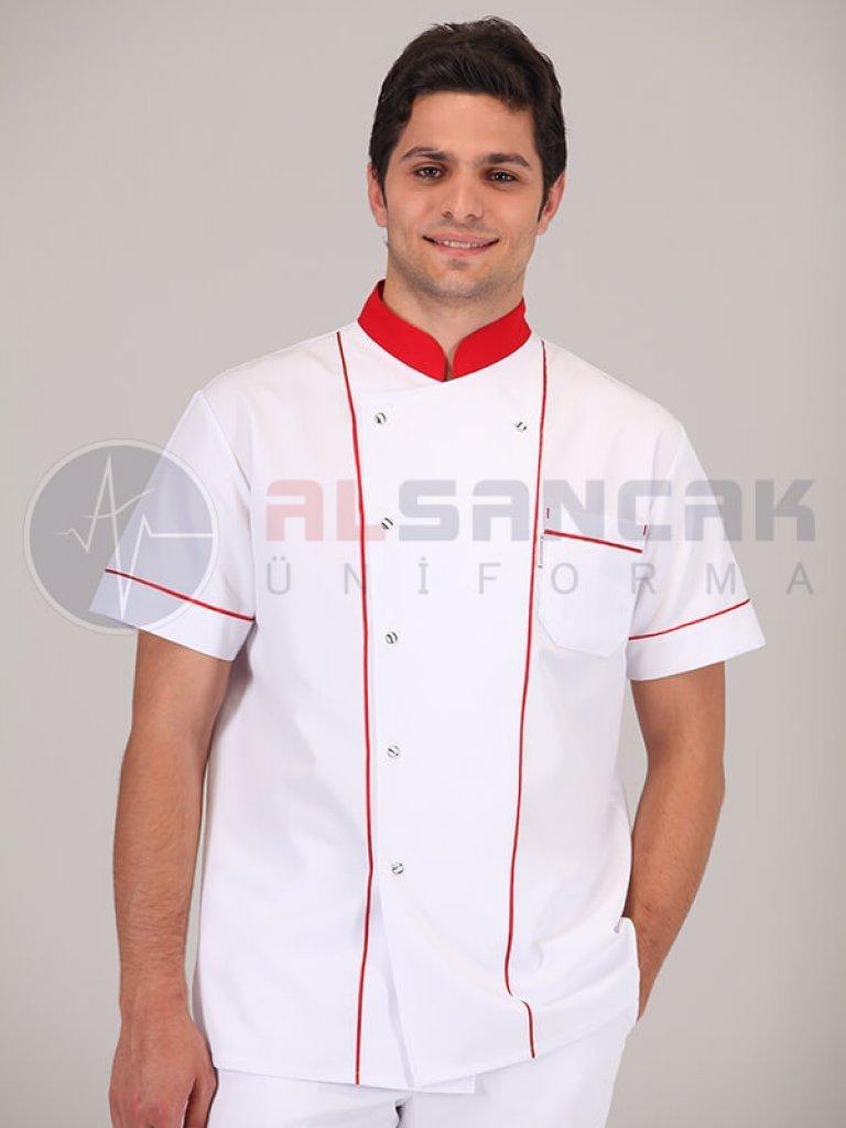 Kırmızı Biyeli Beyaz Aşçı Ceketi