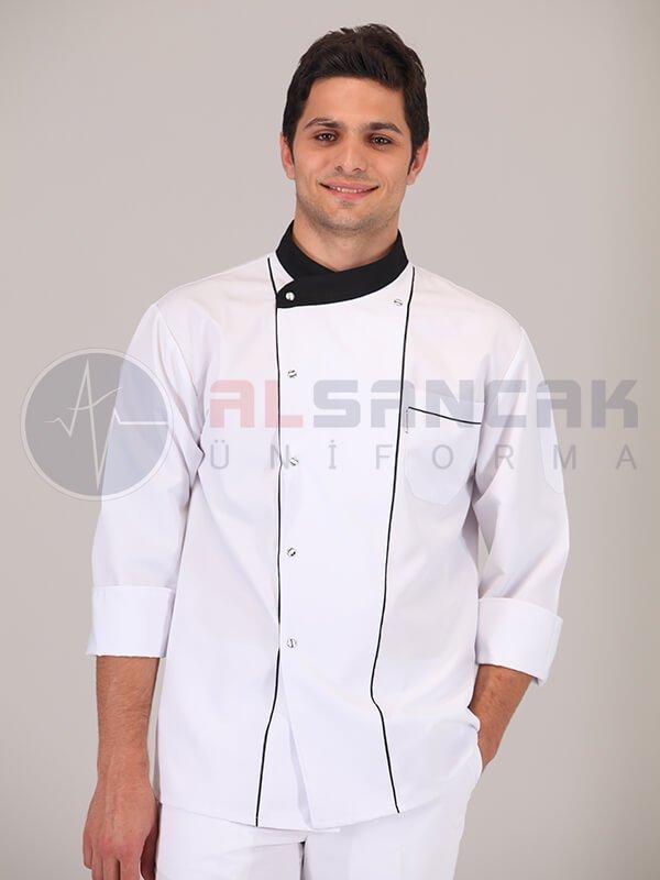 Erkek Efes Modeli - Siyah Biyeli - Beyaz - Alpaka Aşçı Elbise Ceketi