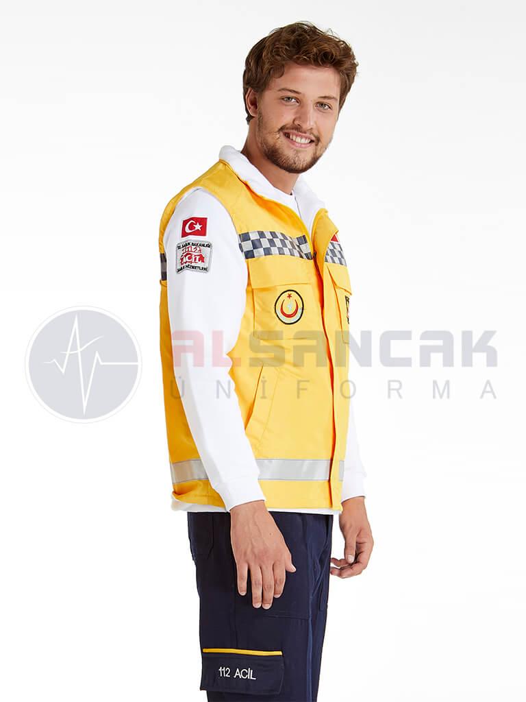 Erkek 112 Acil ATT Reflektörlü Sarı Yelek