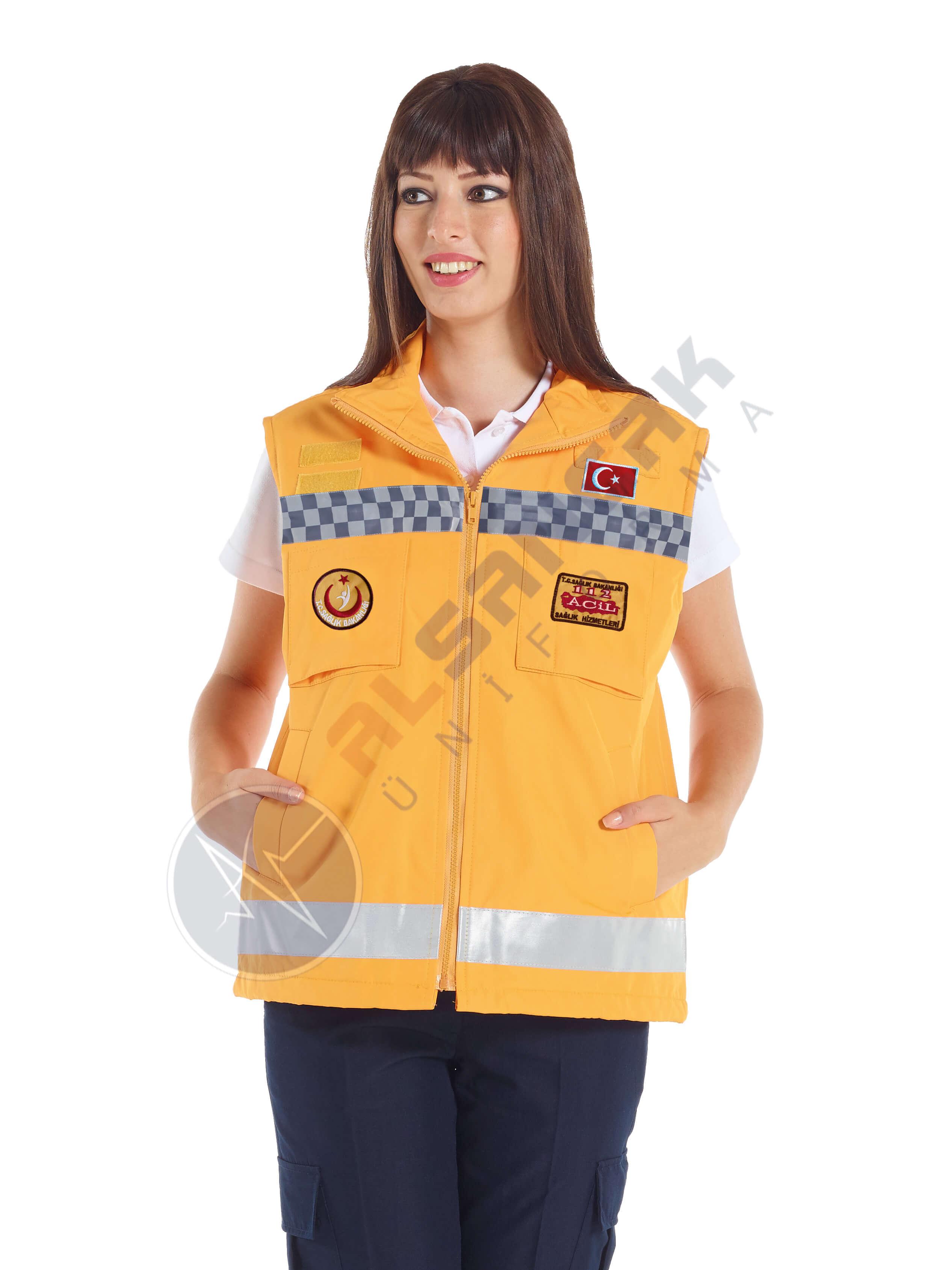 Kadın 112 Acil ATT Reflektörlü Sarı Yelek