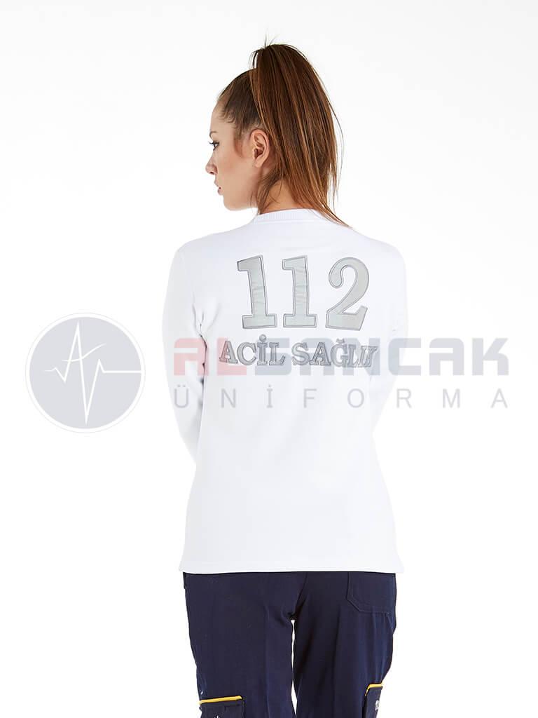 Kadın 112 Acil ATT Reflektör Nakışlı Beyaz Uzun Kollu Sweat