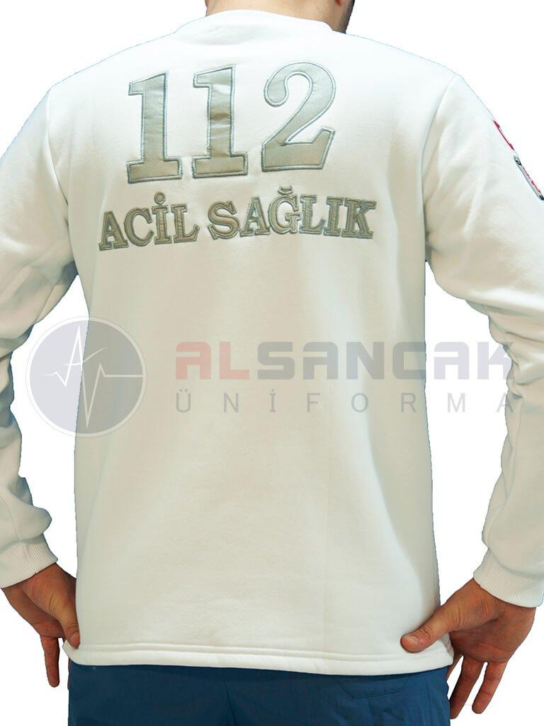 Erkek 112 Acil ATT Reflektör Nakışlı Beyaz Uzun Kollu Sweat