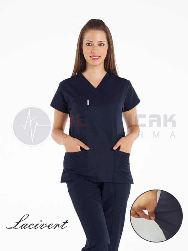 Lacivert Likralı Doktor ve Hemşire Forması