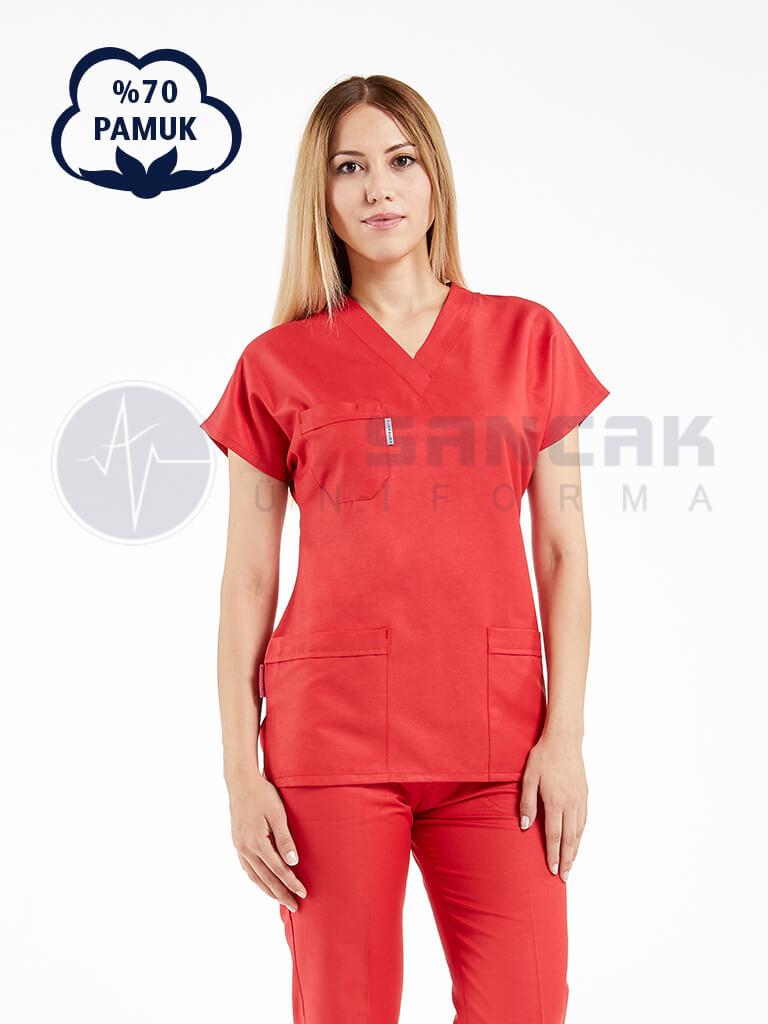Kırmızı Pamuklu Doktor ve Hemşire Forması