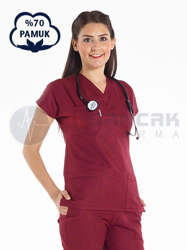 Kadın Yarasa Kol Cottoncool® Bordo Doktor ve Hemşire Forması Takımı