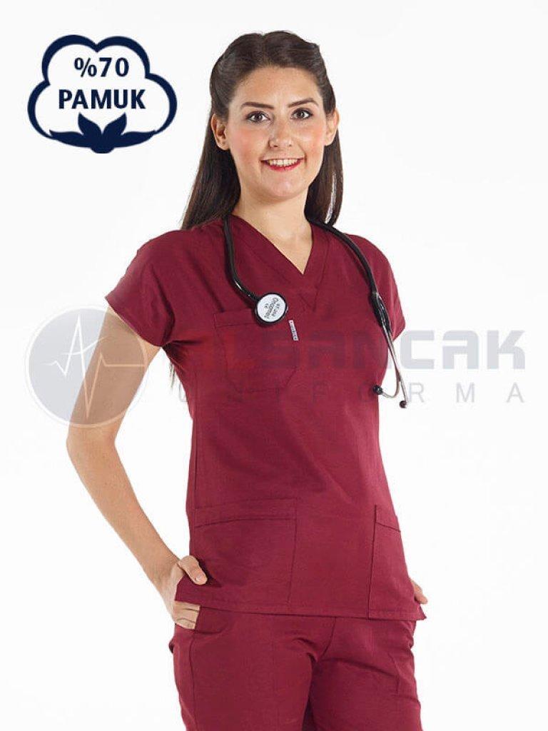 Bordo Pamuklu Doktor ve Hemşire Forması