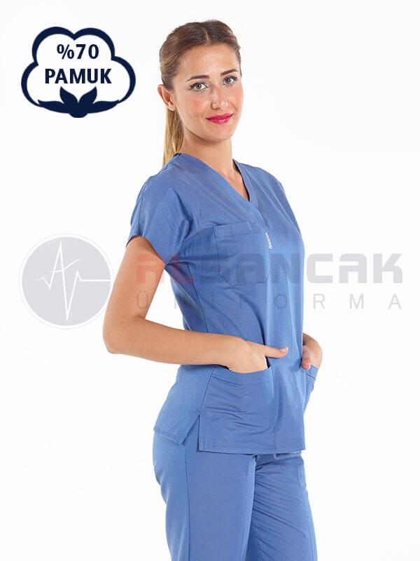 Kadın Yarasa Kol Cottoncool® Fırtına Mavi Doktor ve Hemşire Forması Takımı