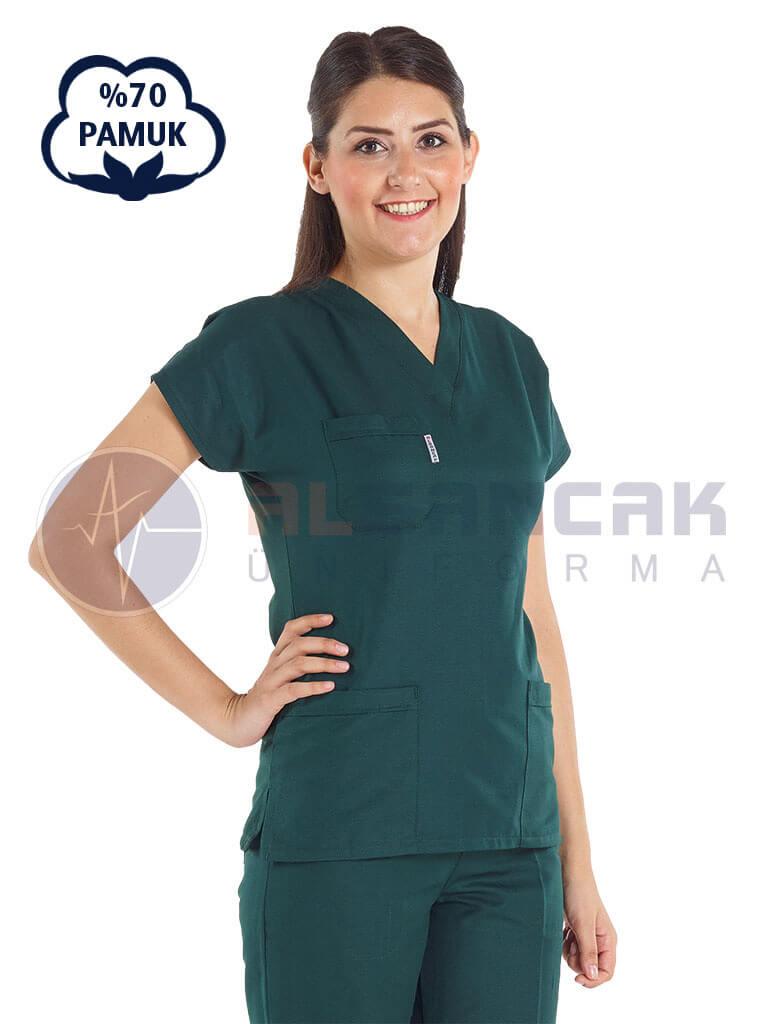 Ördekbaşı Yeşili Pamuklu Doktor ve Hemşire Forması