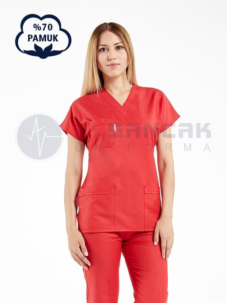 Kadın Yarasa Kol Cottoncool® Kırmızı Doktor ve Hemşire Forması Takımı