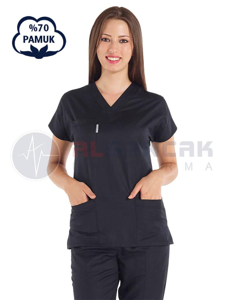 Kadın Yarasa Kol Cottoncool® Siyah Doktor ve Hemşire Forması Takımı