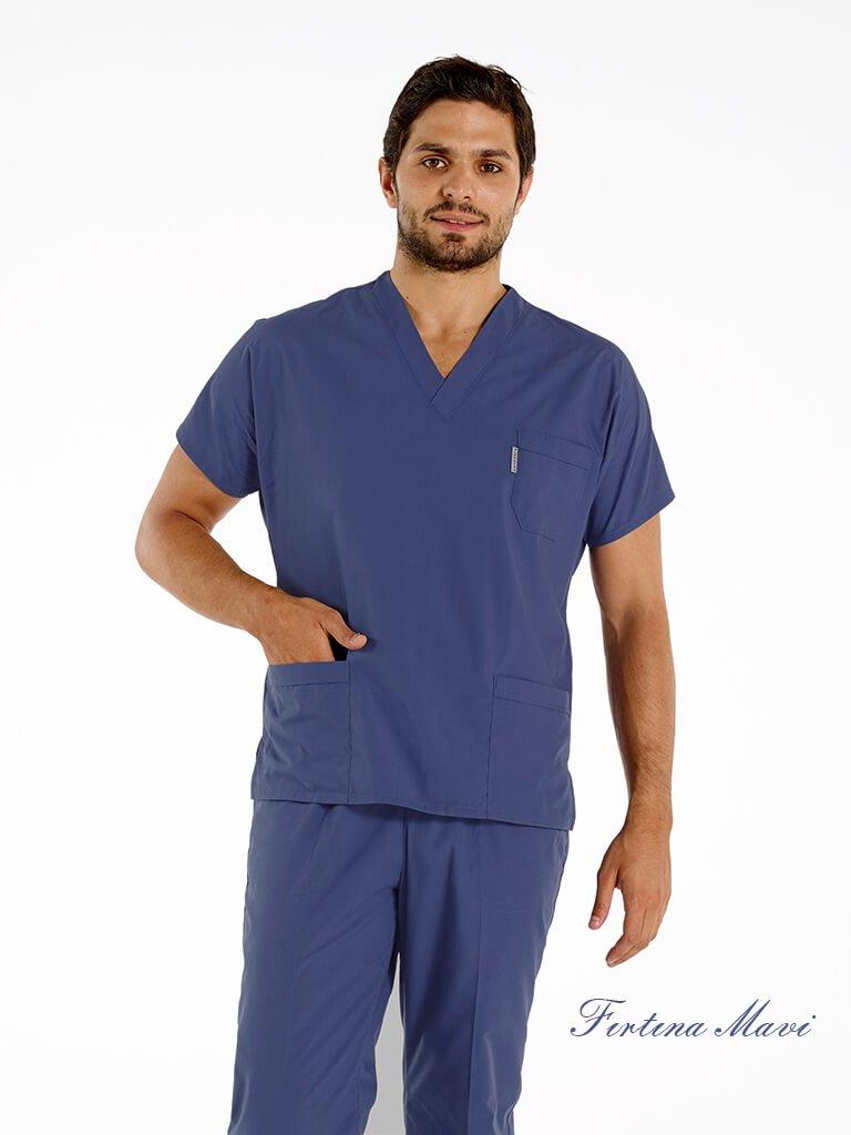 Erkek Cotton Flex® Fırtına Mavi Likralı Doktor ve Hemşire Forması Takımı