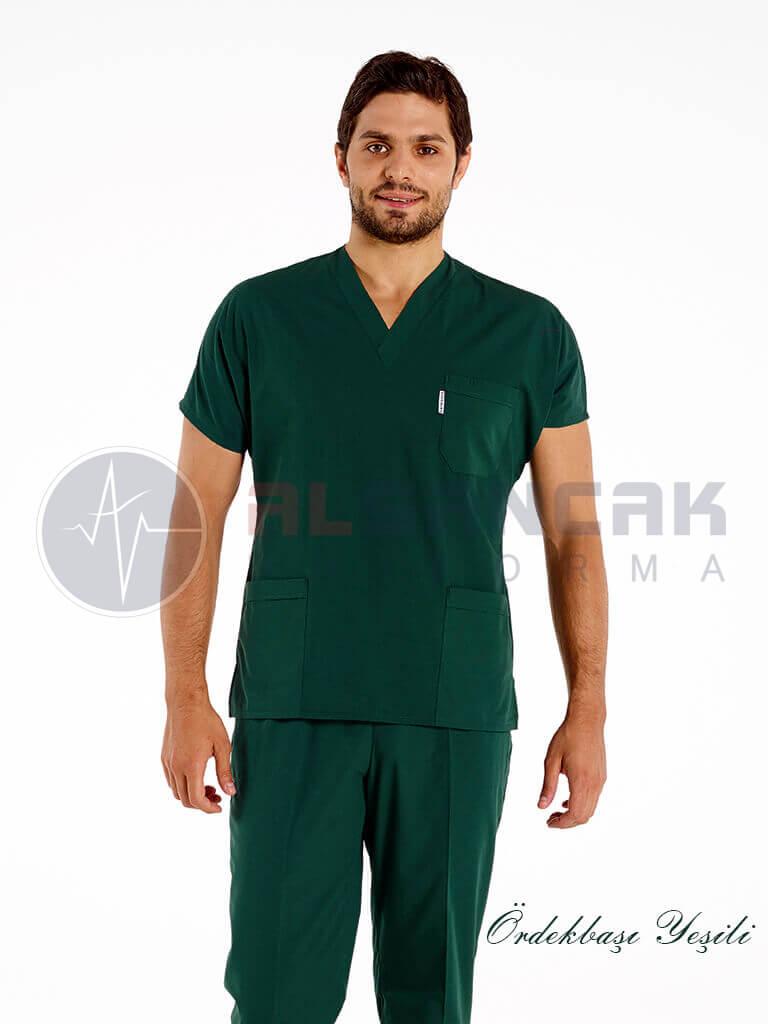 Erkek Ördekbaşı Yeşili Likralı Doktor ve Hemşire Forması
