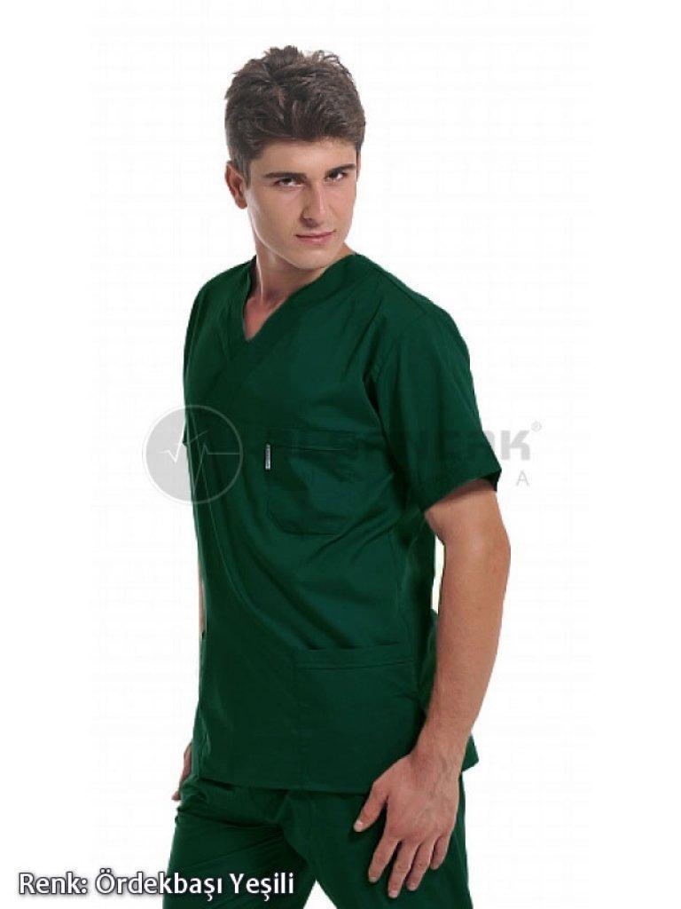 Erkek Basic V Yaka Alpaka Kumaş Doktor ve Hemşire Forması Takımı