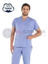 Erkek Açık Mavi Pamuklu Doktor ve Hemşire Forması