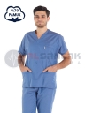 Erkek Fırtına Mavi Pamuklu Doktor ve Hemşire Forması