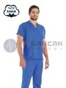 Erkek Saks Mavi Pamuklu Doktor ve Hemşire Forması