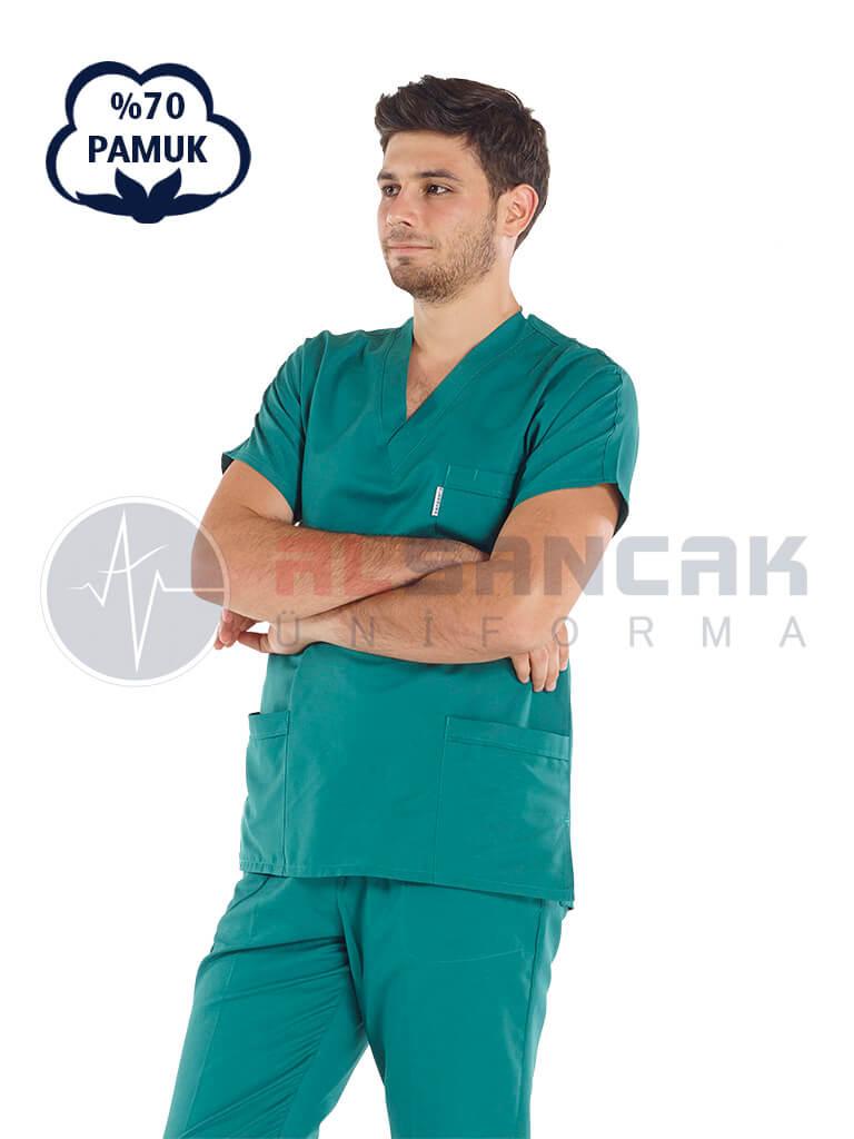 Erkek Cerrahi Yeşil Pamuklu Doktor ve Hemşire Forması
