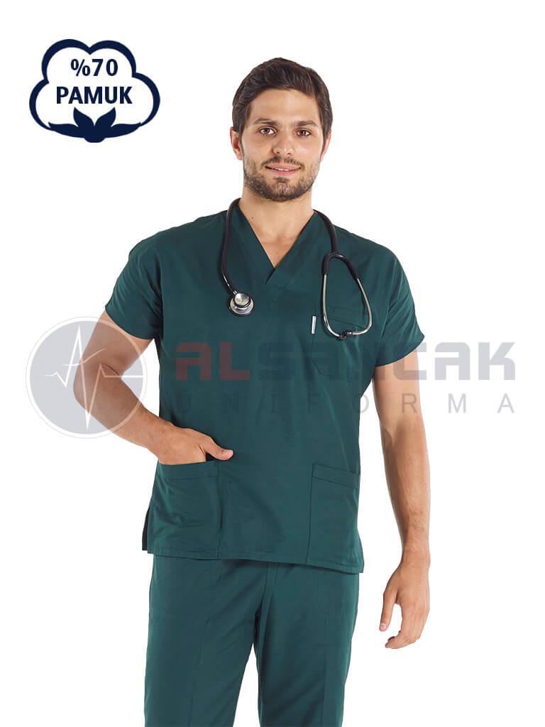 Erkek Ördekbaşı Yeşili Pamuklu Doktor ve Hemşire Forması