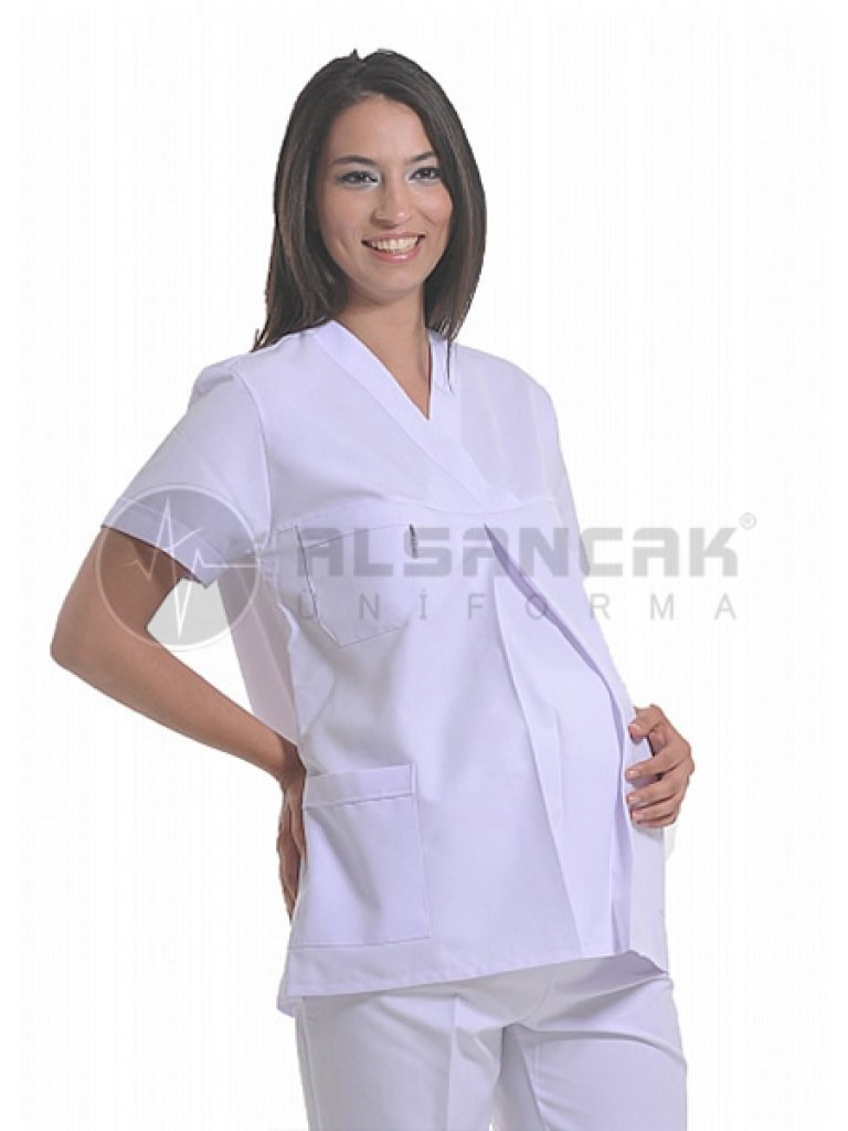 Beyaz Hamile Hemşire ve Doktor Forması Takımı