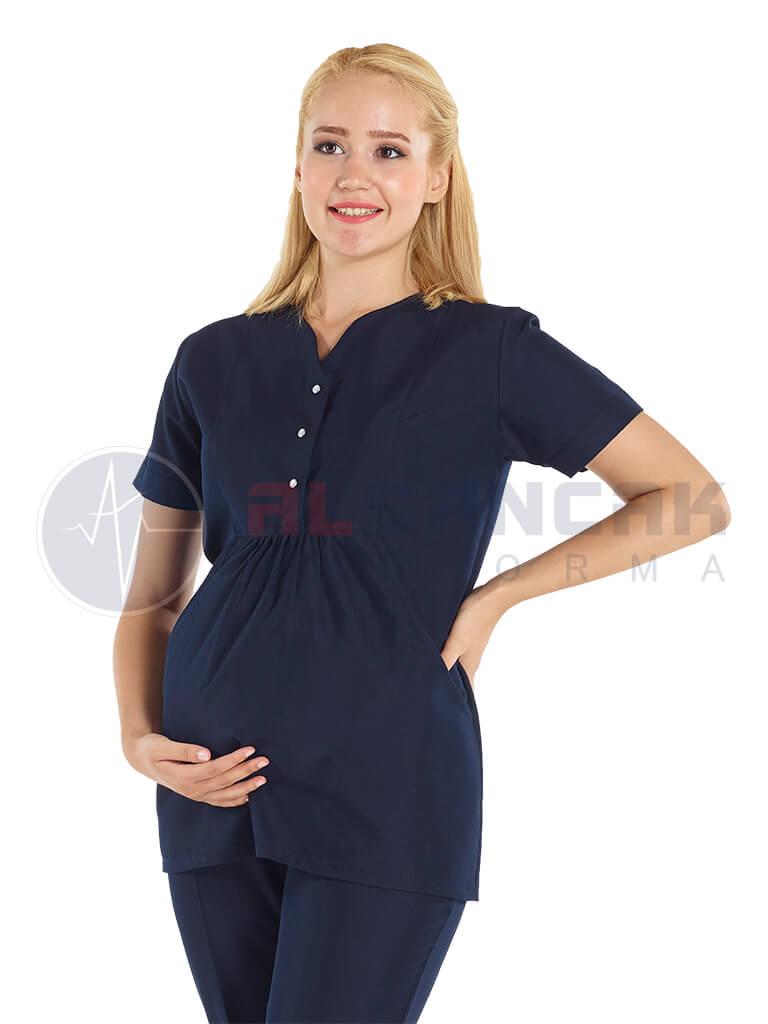 Çıtçıtlı Lacivert Hamile Hemşire ve Doktor Forması (tek üst)