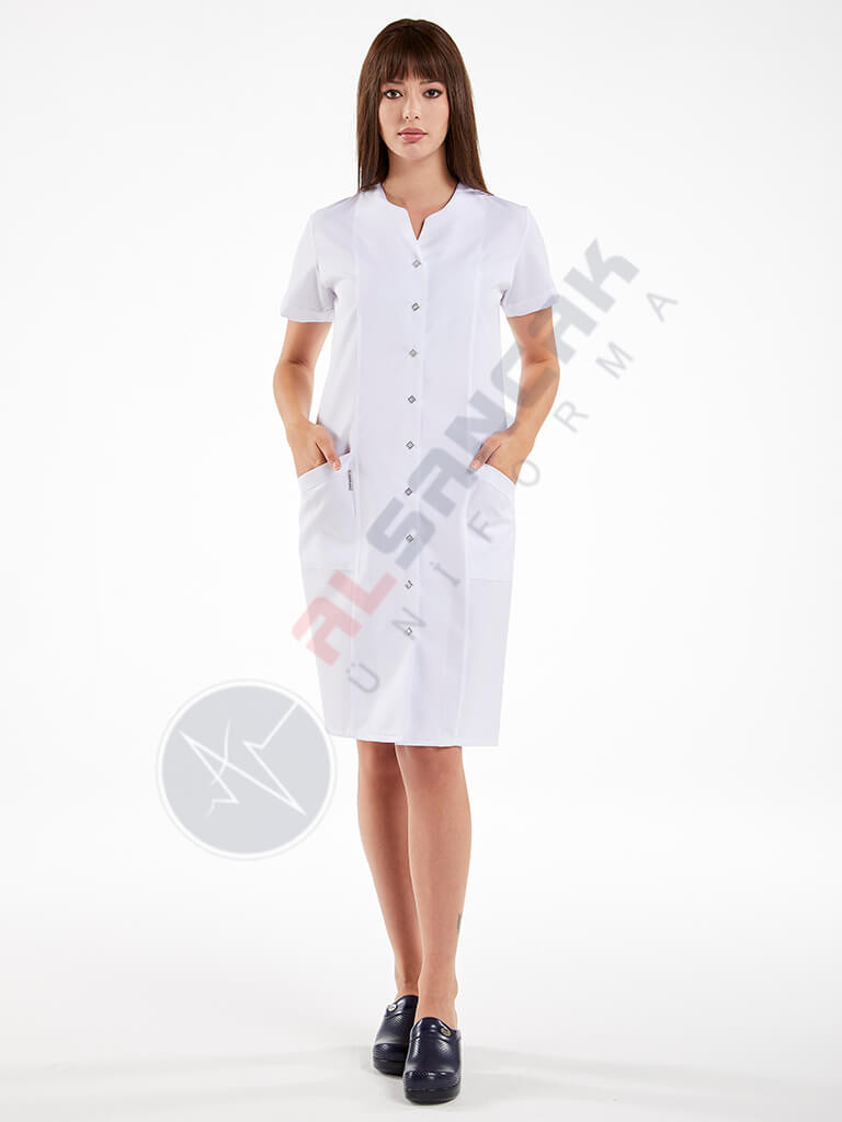 Beyaz Blanca Modeli Hemşire ve Doktor Elbisesi