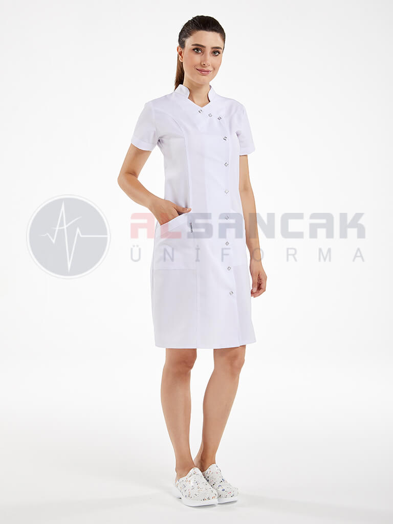 Yandan Çıtçıtlı Hemşire ve Doktor Elbisesi - Beyaz
