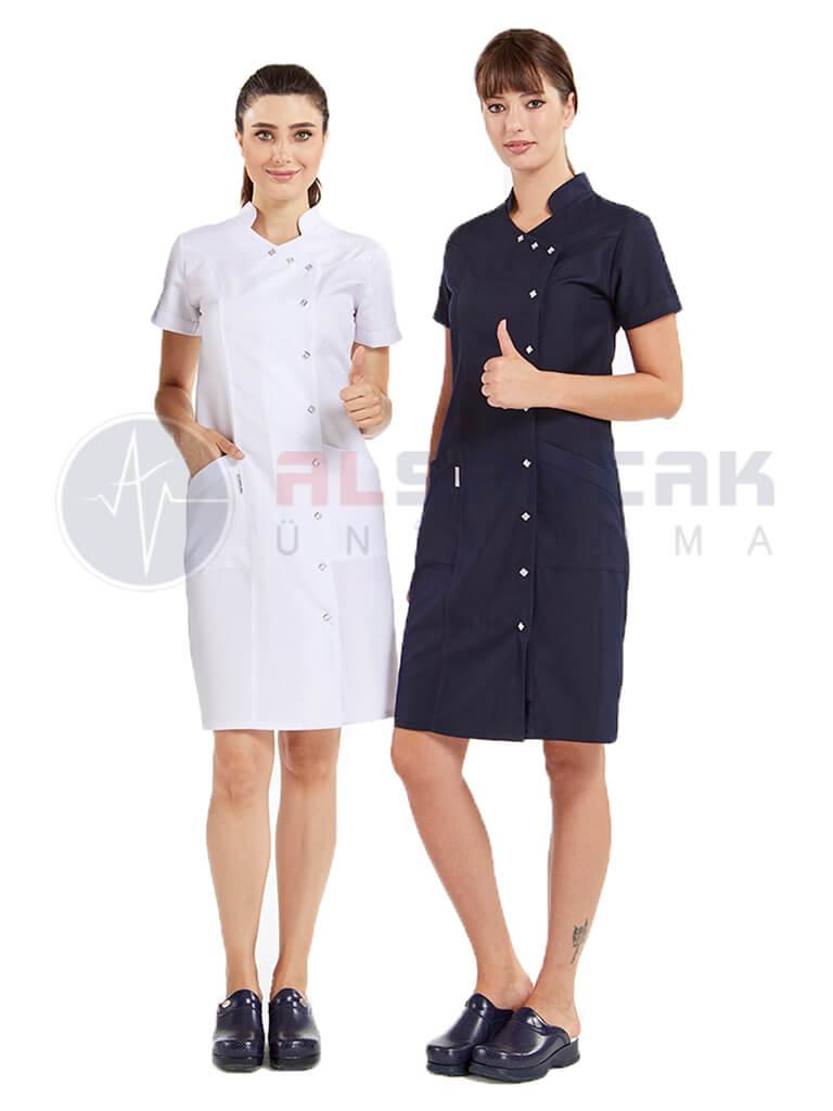 Yandan Çıtçıtlı Hemşire ve Doktor Elbisesi - Lacivert
