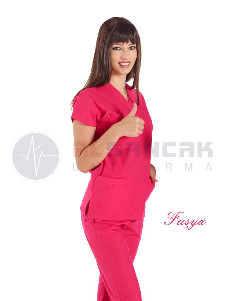 Fuşya Likralı Doktor ve Hemşire Forması