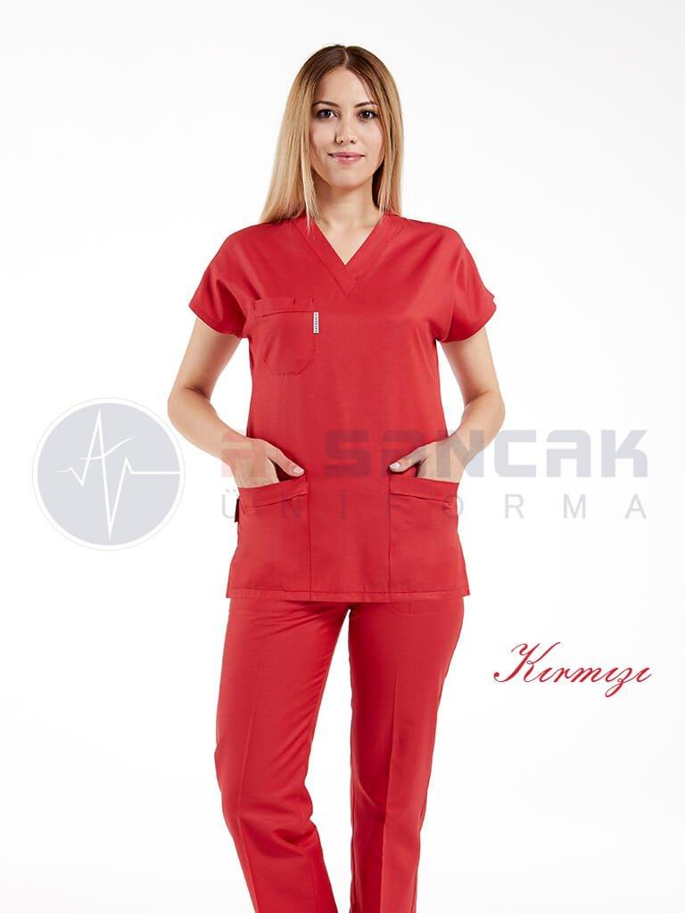 Kırmızı Likralı Doktor ve Hemşire Forması