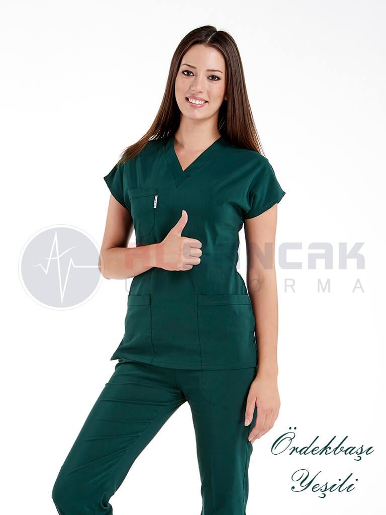 Ördekbaşı Yeşili Likralı Doktor ve Hemşire Forması