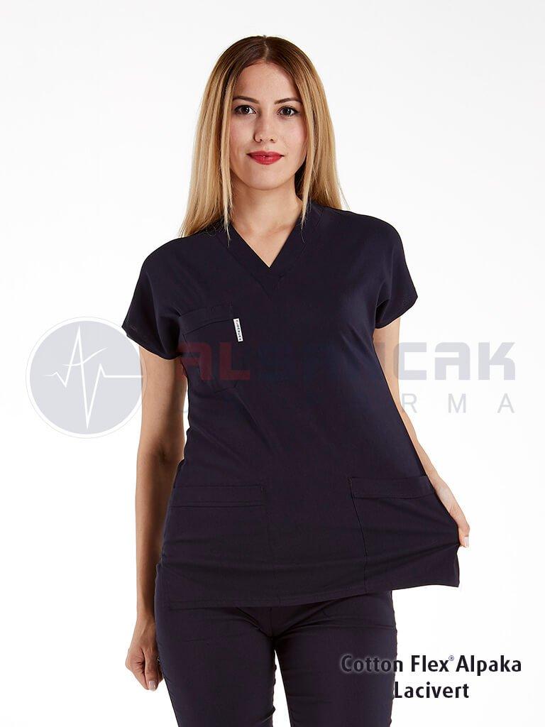 Kadın Cotton Flex® Lacivert Likralı Doktor ve Hemşire Forması